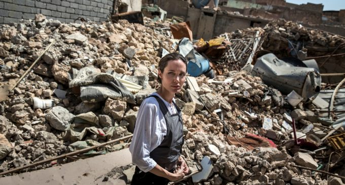 """U.N. envoy Angelina Jolie visits Syrian refugees in Kurdistan, says """"Women and girls are left vulnerable to sexual violence"""" when we don't invest in refugees"""